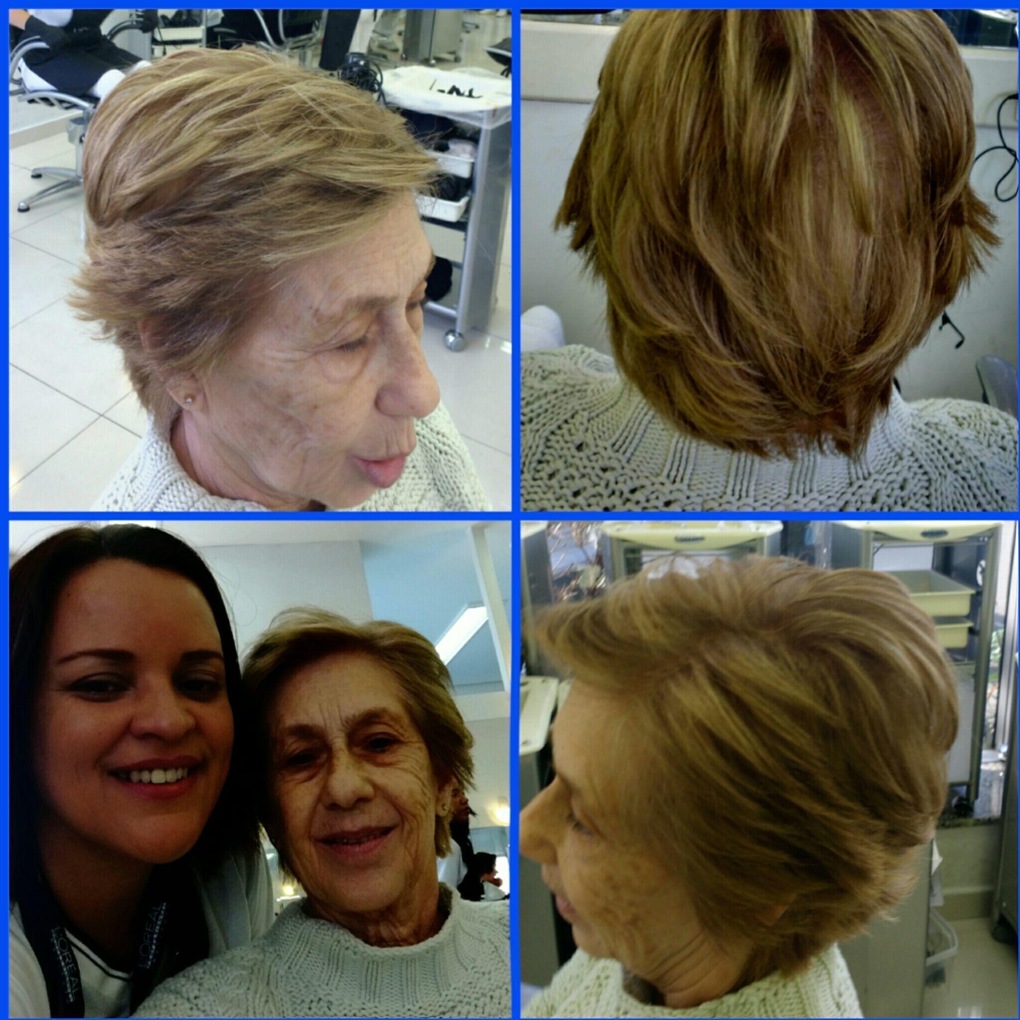 Cliente satisfeita correção de corte, mechas imversas cabelo auxiliar cabeleireiro(a) cabeleireiro(a)