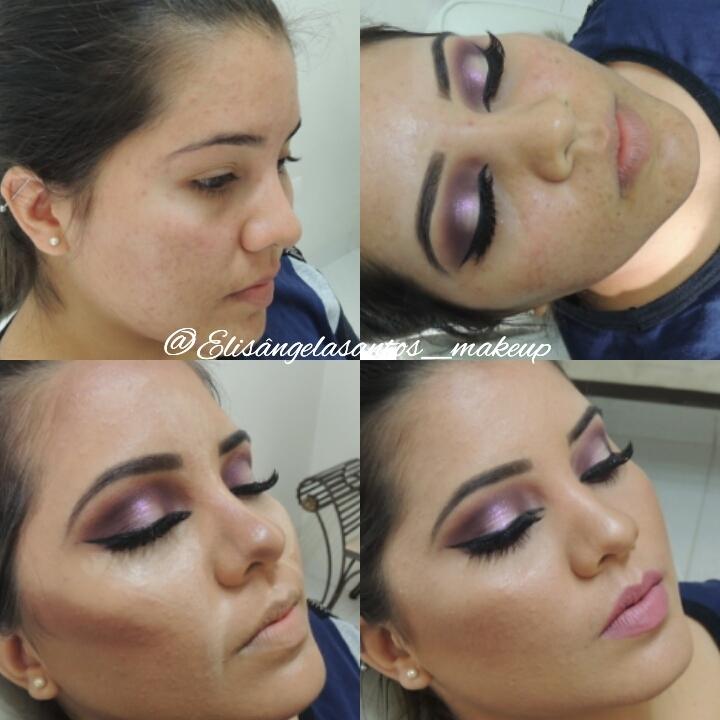 Lindo antes e depois de pele acneica, amamos o lindo resultado! Olho com técnica ponto luz!❤❤❤ maquiagem maquiador(a)