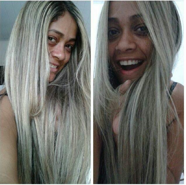Haha mais uma platinada, cliente mega feliz e eu tb. cabelo cabeleireiro(a)