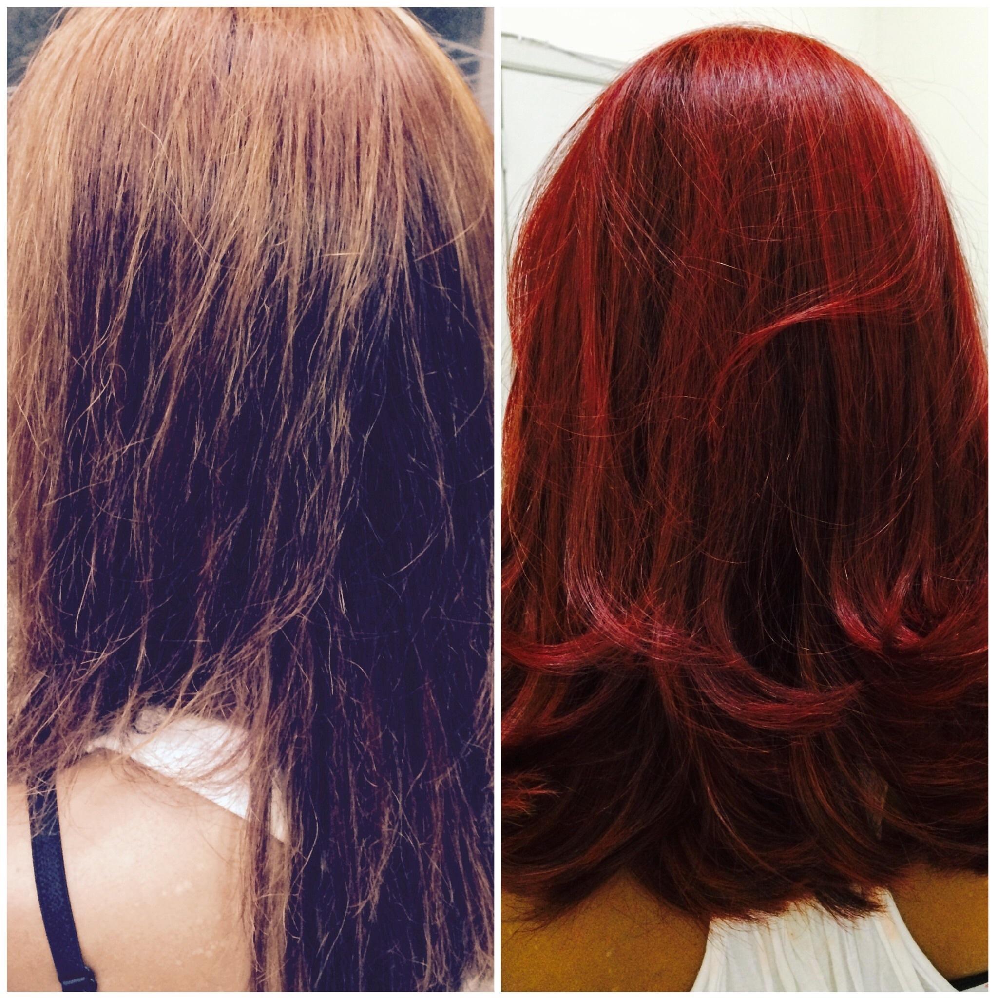 trabalho de antes e depois feito uma correção de cor no comprimento e ponta e igualando a cor no tom desejado da cliente finalizando c sucesso cabelo cabeleireiro(a)