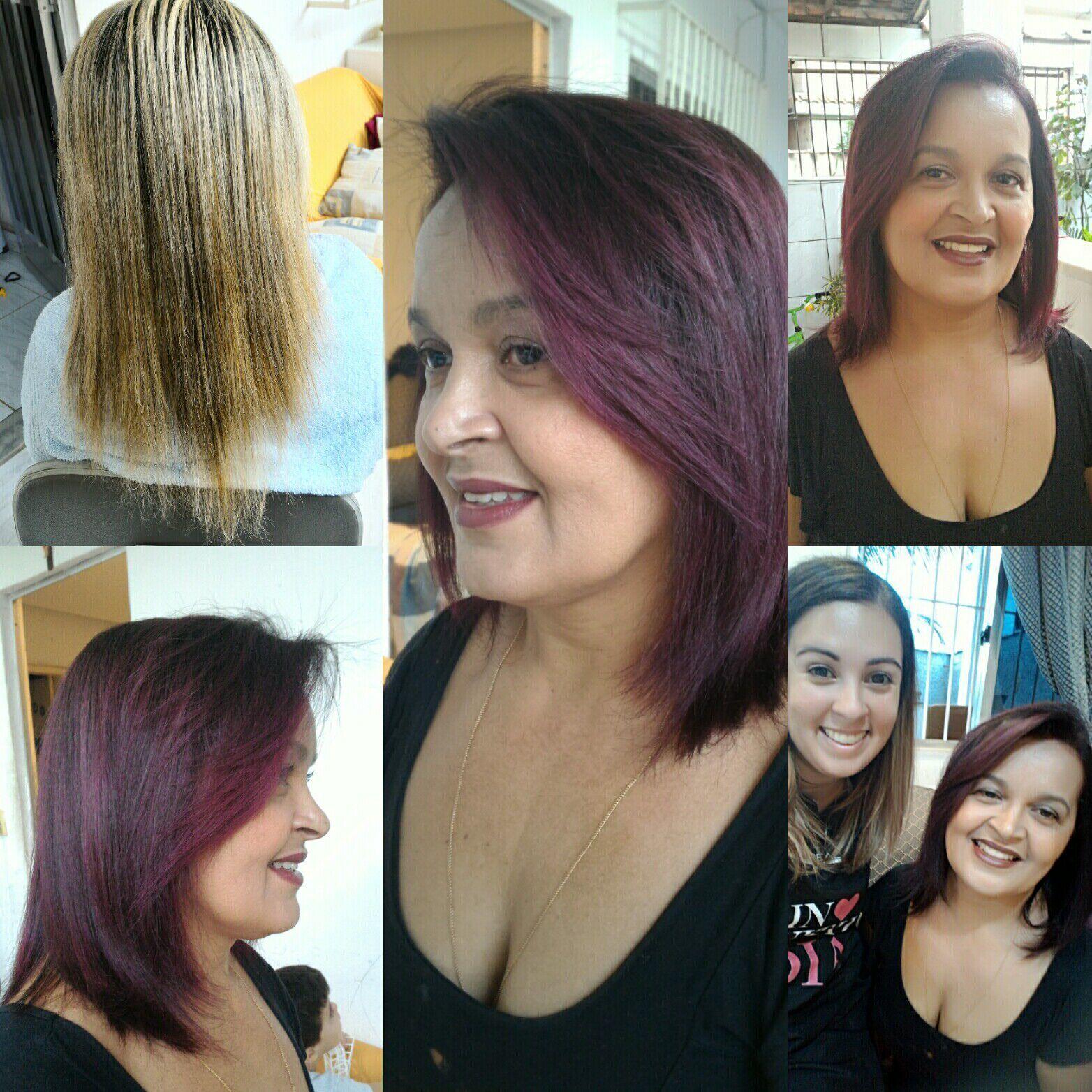 Transformação cor e corte.. do.loiro desbotado para o violine cabelo cabeleireiro(a) auxiliar cabeleireiro(a) cabeleireiro(a)
