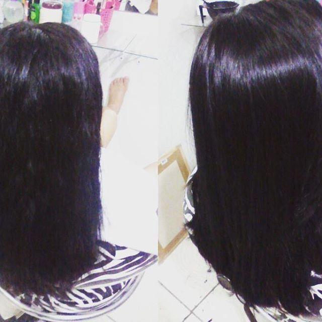Progressiva Antes e depois #selagem #cabelo #progressiva #cabeloslisos cabelo cabeleireiro(a) designer de sobrancelhas