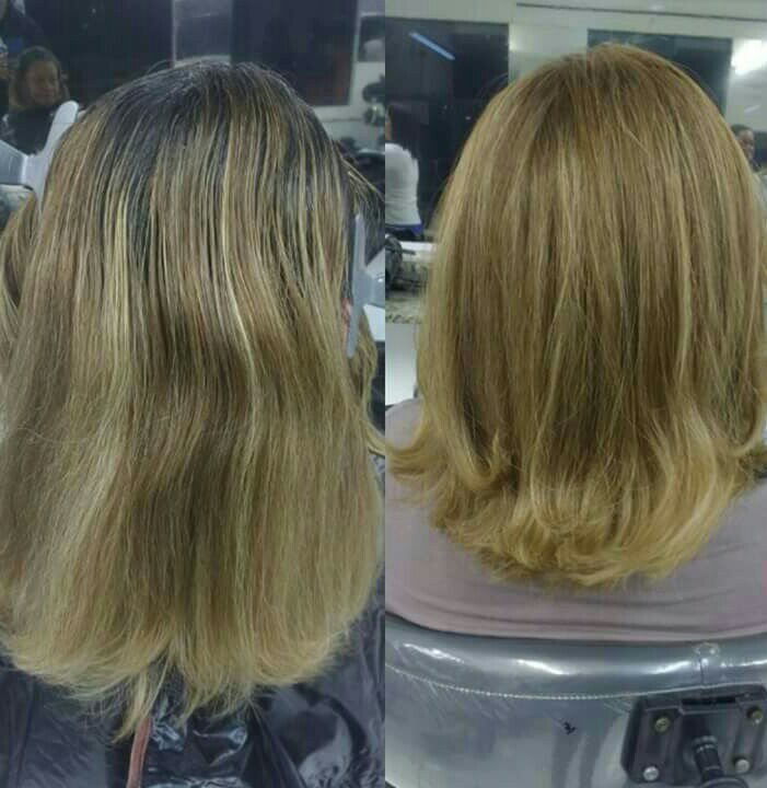 Retoque de raiz e corte. cabelo cabeleireiro(a) auxiliar cabeleireiro(a) barbeiro(a)