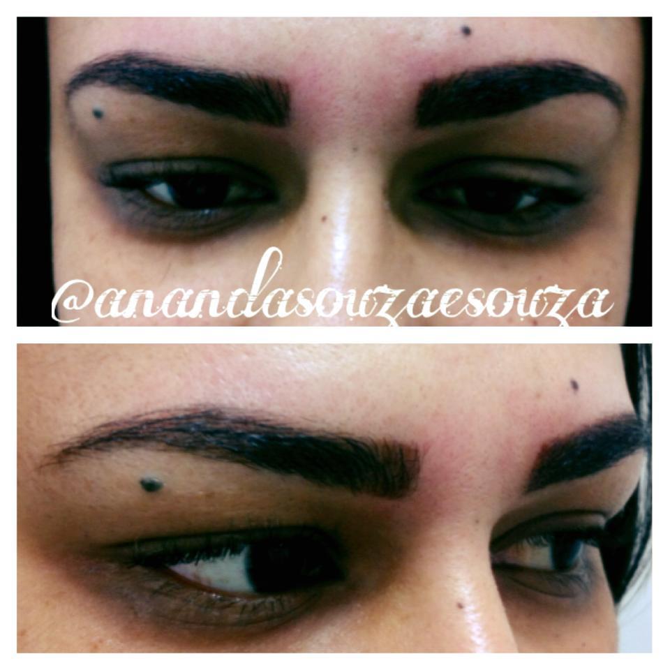 Design de sobrancelhas com aplicação de hena. estética depilador(a) designer de sobrancelhas massoterapeuta