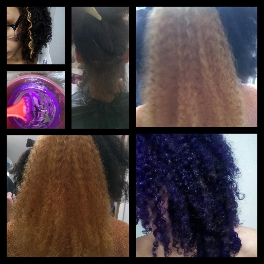 Descoloração e coloração Roxo Violeta cabelo Afro #AfroHair #Cabelocoloridos #cacheadas cabelo cabeleireiro(a) estudante (esteticista)