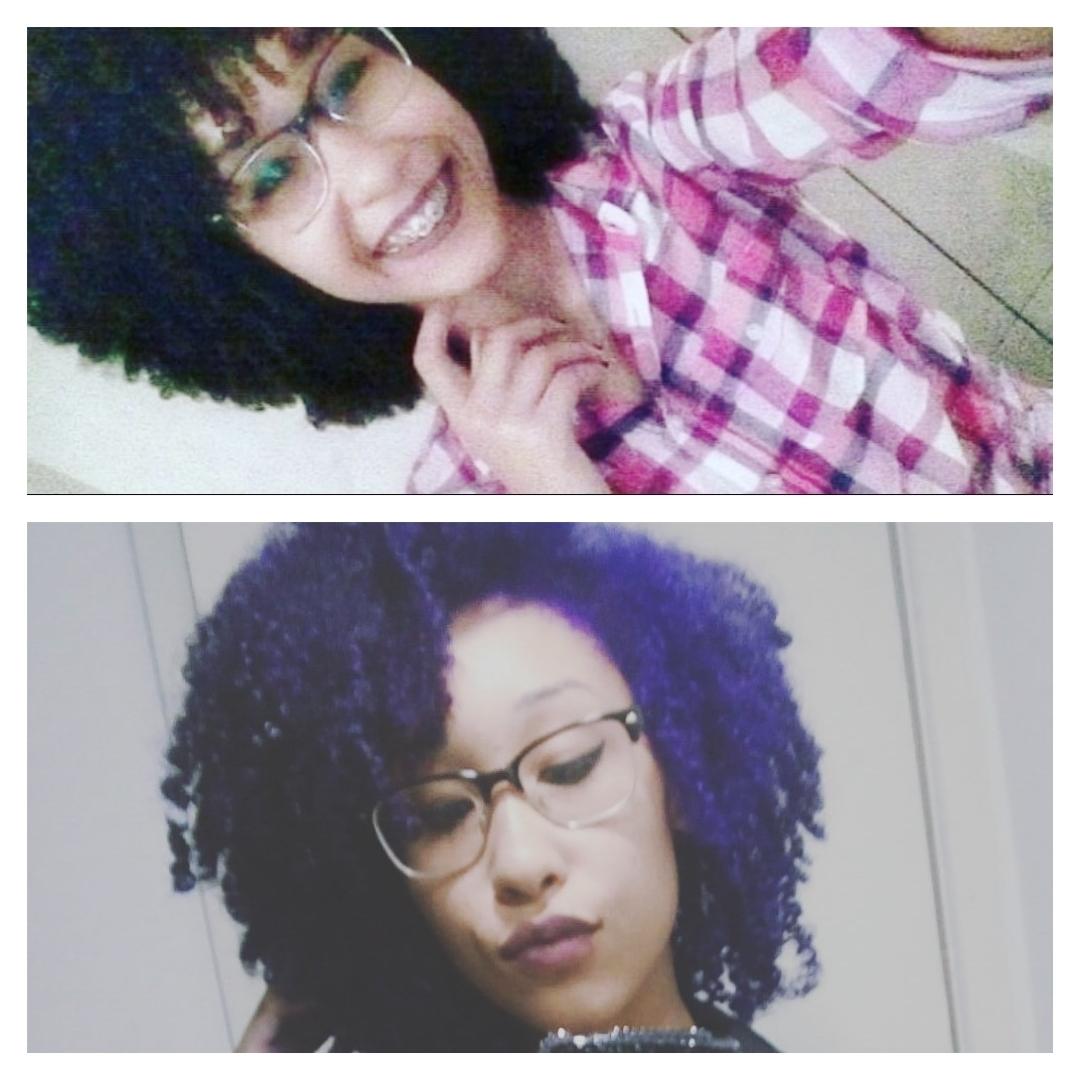 Antes e depois da descoloração e coloração Roxo Violeta, minha cliente Cristiane #Cacheadas #Cabeloscoloridos cabelo cabeleireiro(a) estudante (esteticista)