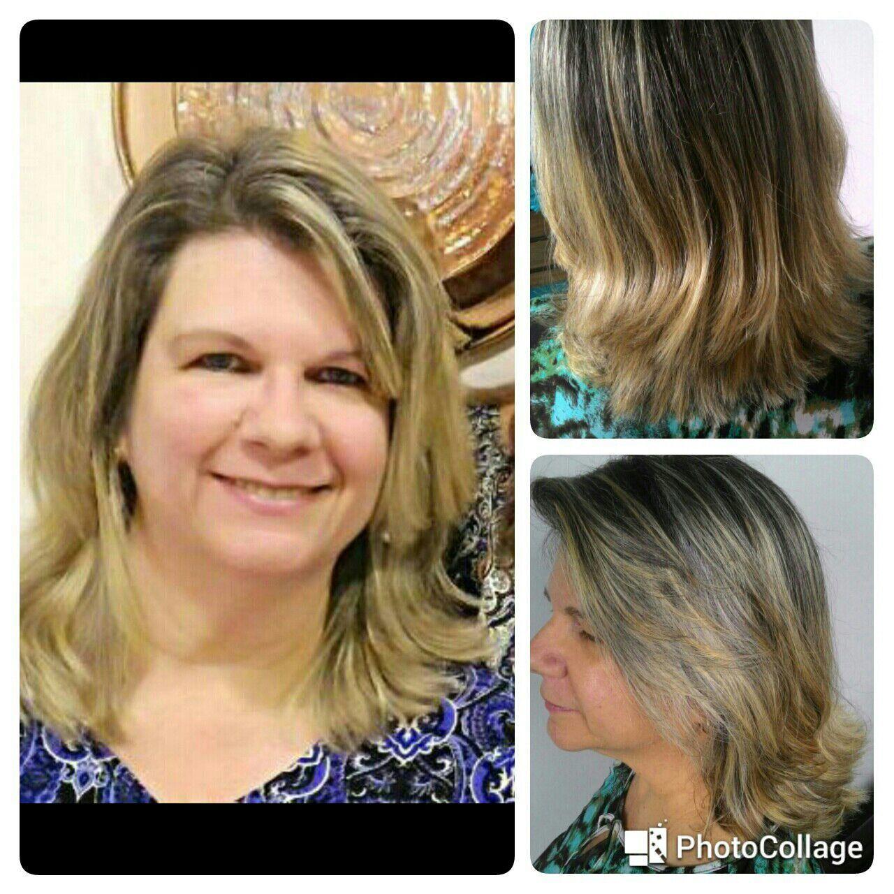 Corte em cabelo con escova progressiva cabelo cabeleireiro(a)