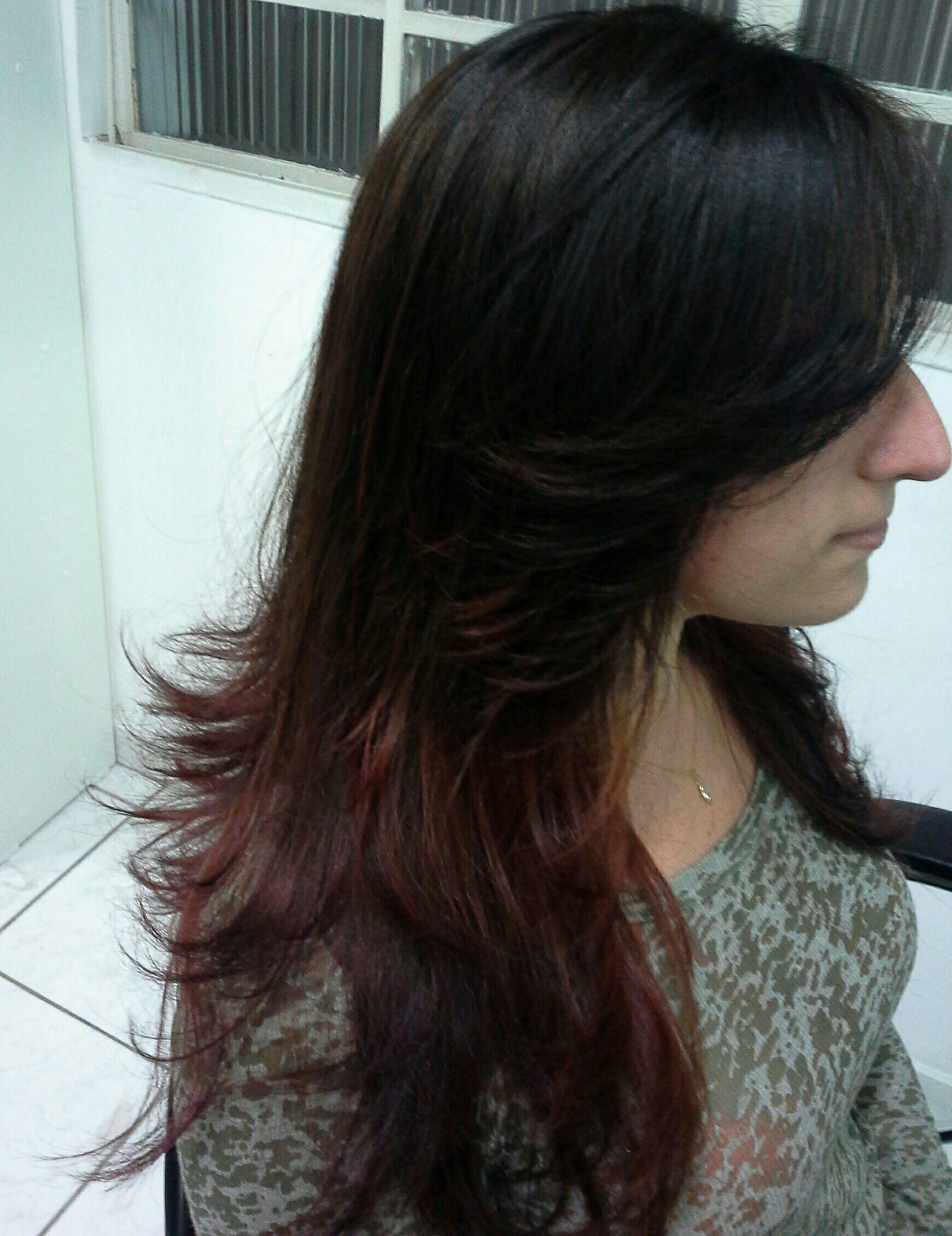 Californiana  dois  tons,  castanho e vermelho.  Profissional.  Vera Lúcia  Lopes cabelo stylist / visagista cabeleireiro(a)