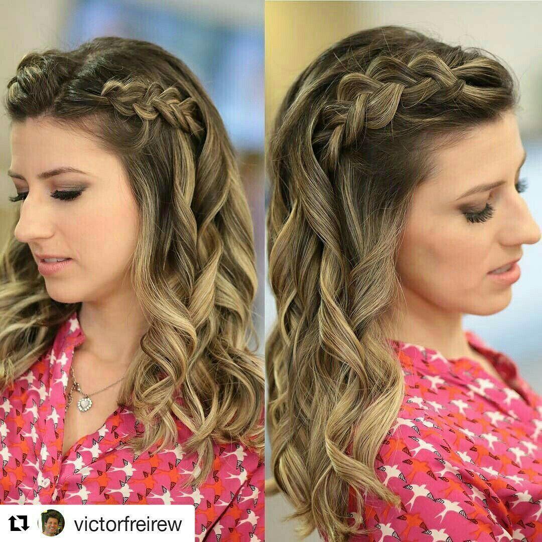 Trança simples e romantica com ar de elegancia e romantismo cabelo cabeleireiro(a) stylist / visagista