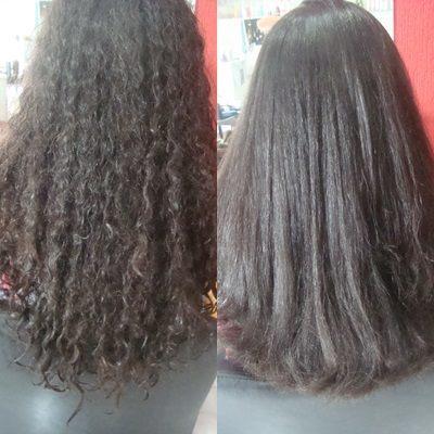 escova progressiva antes e depois cabelo cabeleireiro(a)