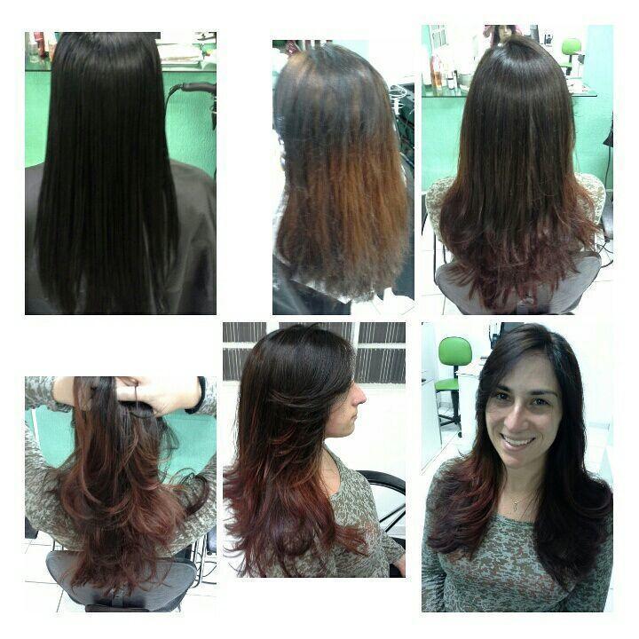 Mudando a  cor, preto  azulado, para ombrehair  chocolate  e vermelho cabelo stylist / visagista cabeleireiro(a)