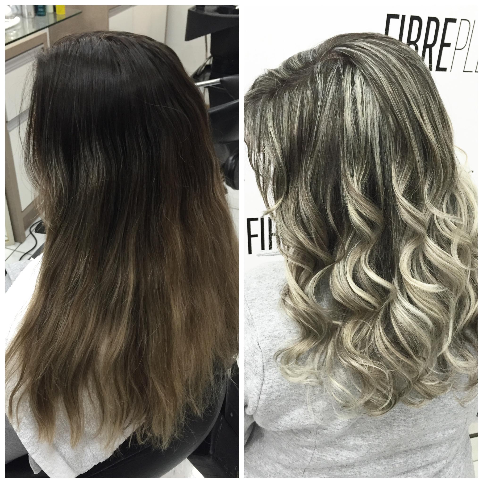 Antes e depois de mechas! cabelo cabeleireiro(a) empresário(a)