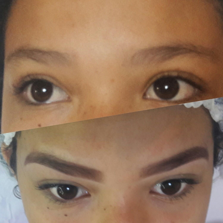 Antes e depois da minha Cliente teen  outros dermopigmentador(a) designer de sobrancelhas maquiador(a)