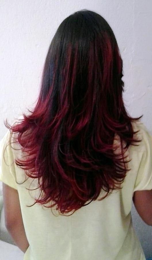 Ombre Hair vermelho + Escova  cabelo auxiliar cabeleireiro(a)
