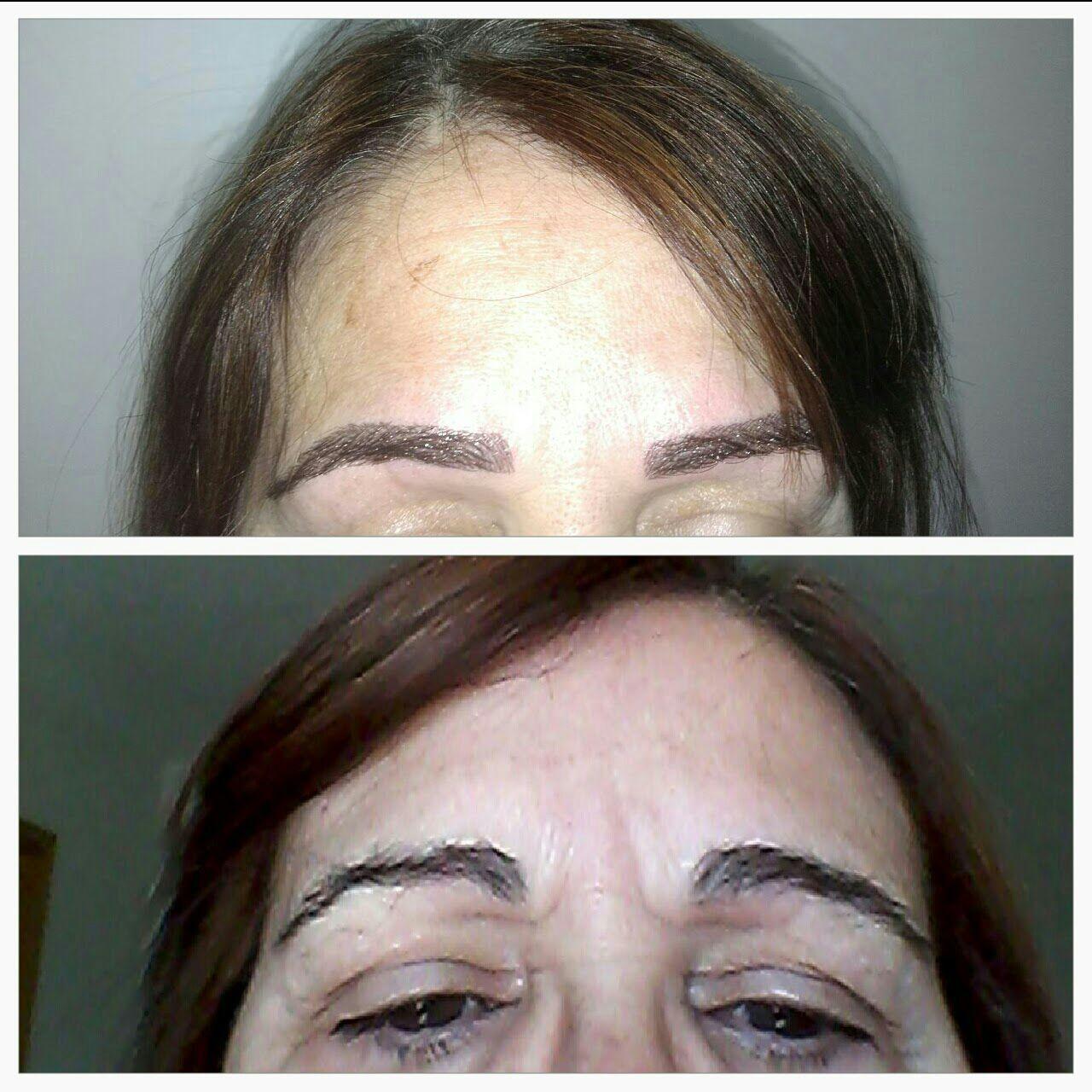 Antes e Depois  Tecnicas de visagismo para levantar olhar estética micropigmentador(a) designer de sobrancelhas esteticista depilador(a)