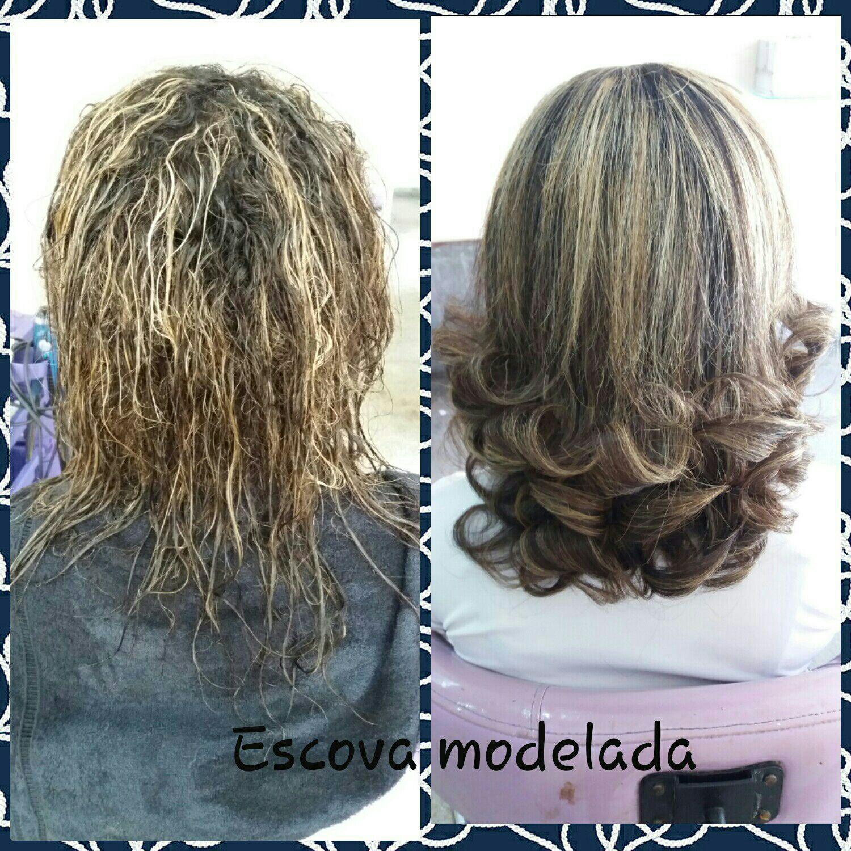 Escova modelada. cabelo cabeleireiro(a)