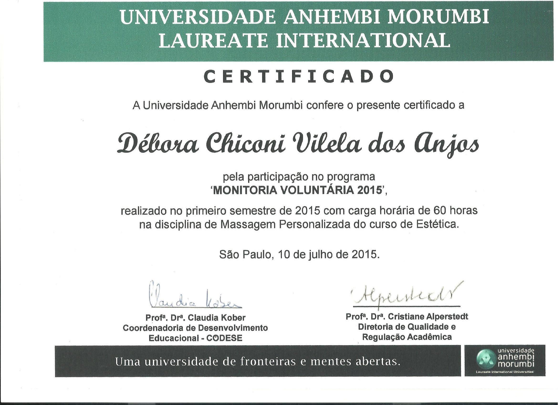 Certificado de monitoria em aula de spa. estética recepcionista assistente esteticista