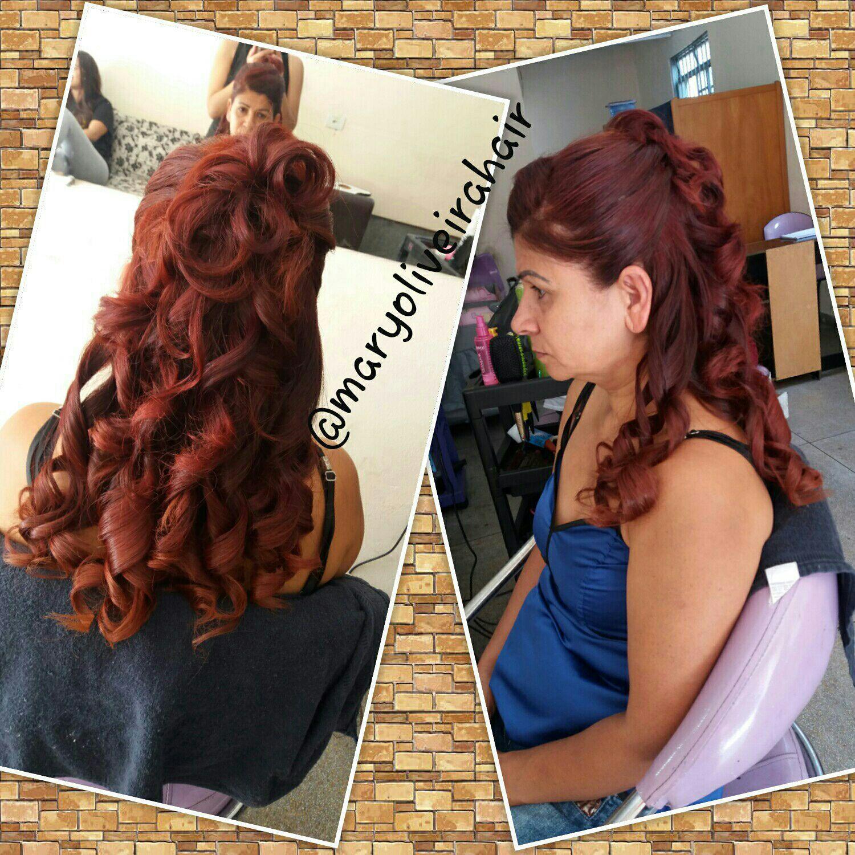 Penteado semi preso. cabelo cabeleireiro(a)