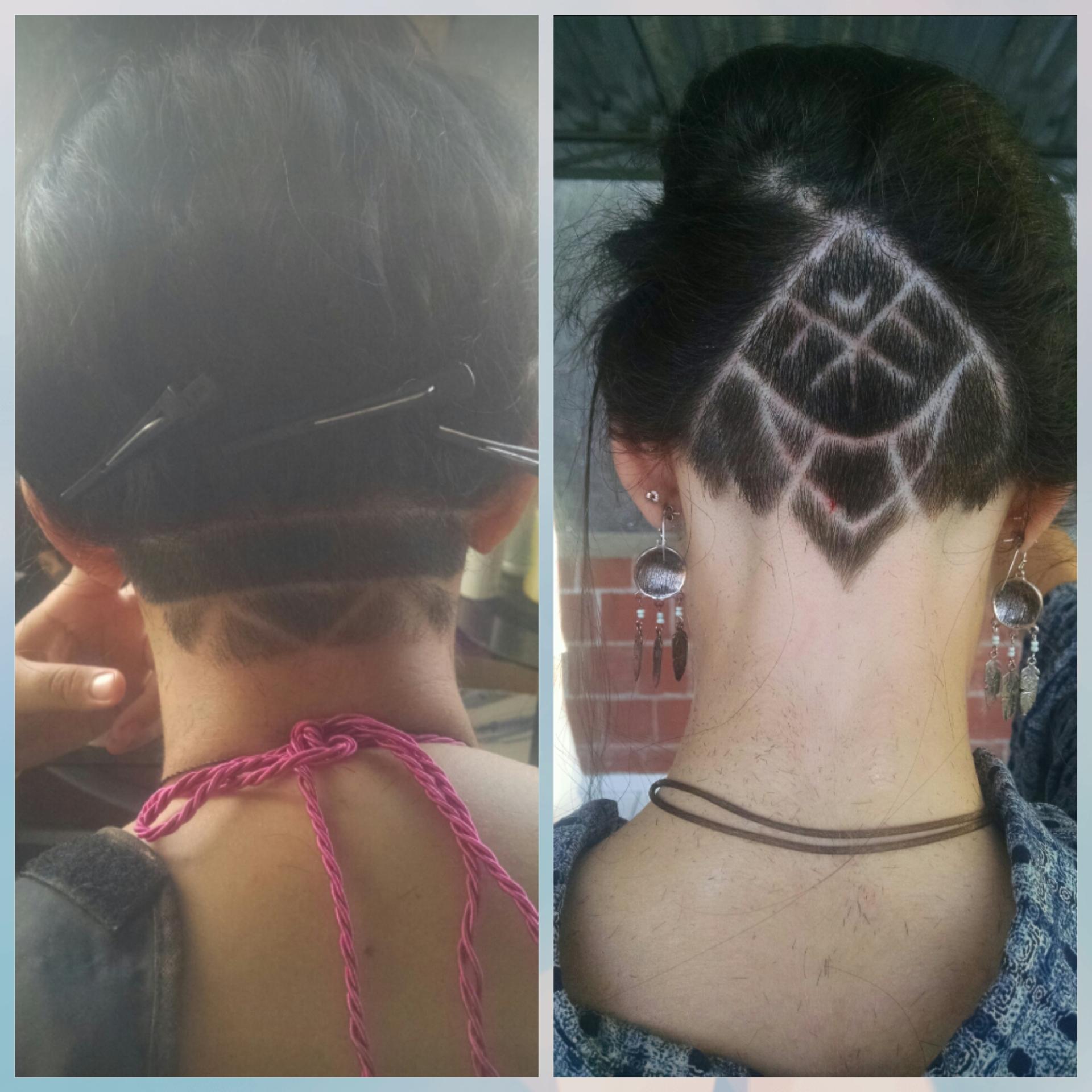 Corte de desenho em cabelo feminino.  cabelo barbeiro(a)