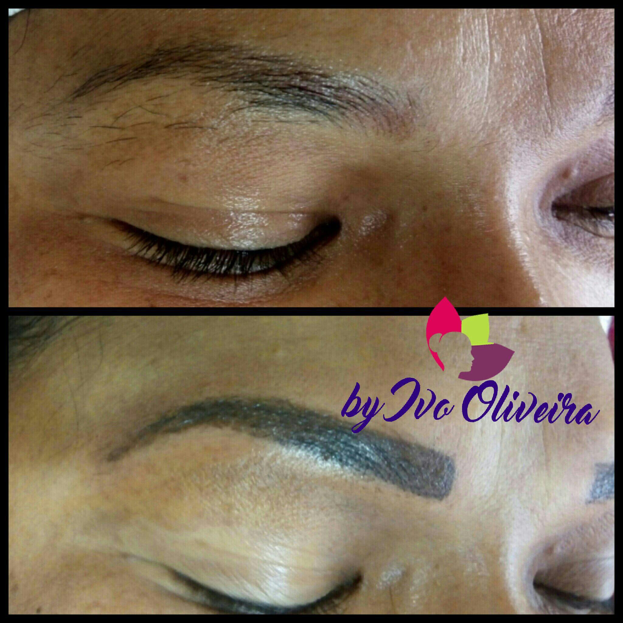 Sobrancelha esfumada estética cabeleireiro(a) escovista dermopigmentador(a) designer de sobrancelhas maquiador(a) micropigmentador(a)