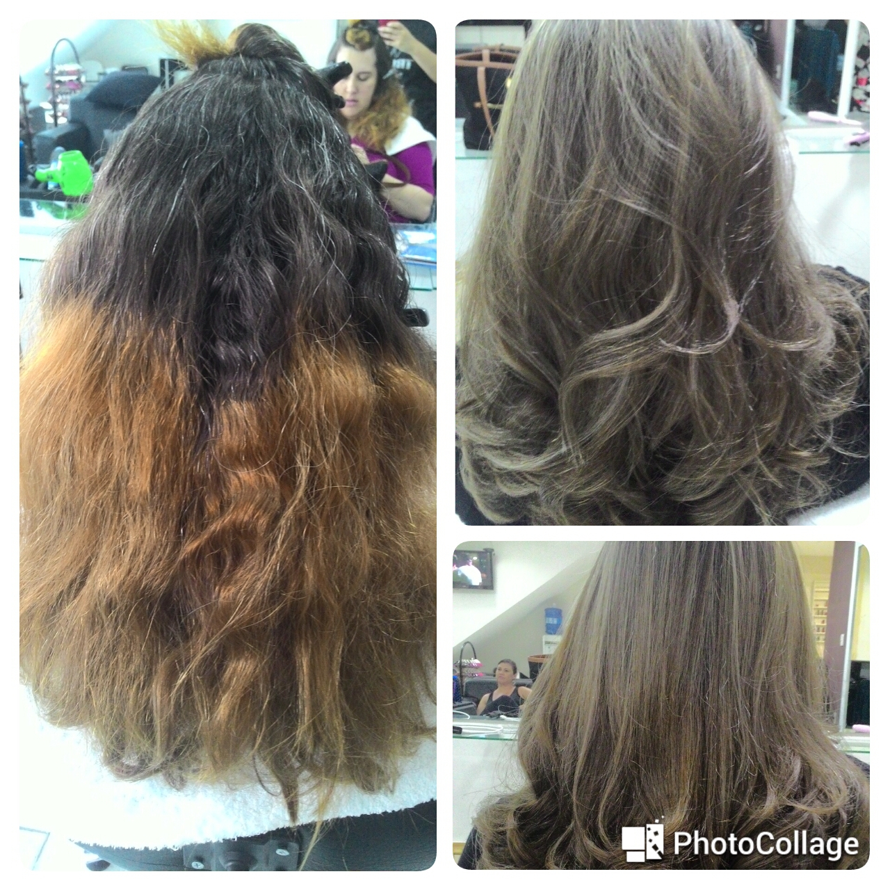 Antes e depois correção de cor cabelo cabeleireiro(a) auxiliar cabeleireiro(a) escovista