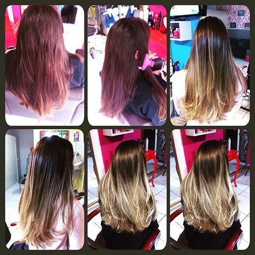 antes e depois Mechas cabelo auxiliar administrativo