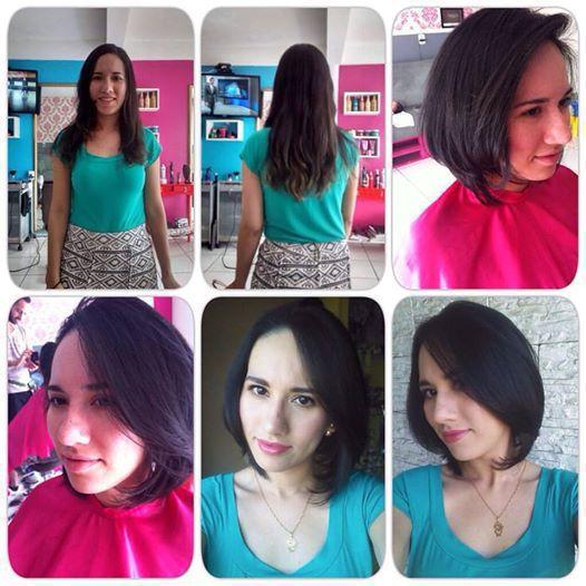 Corte  antes e depois cabelo auxiliar administrativo