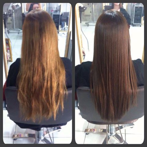 antes e depois Coloração cabelo auxiliar administrativo