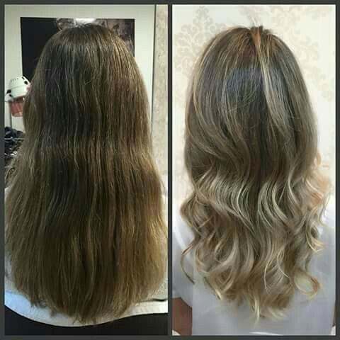 Luzes escova modelada cabelo cabeleireiro(a) auxiliar cabeleireiro(a)