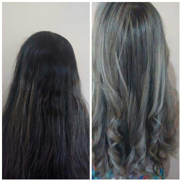 Mechas no tom pérola e escova modelada. cabelo cabeleireiro(a) maquiador(a) designer de sobrancelhas