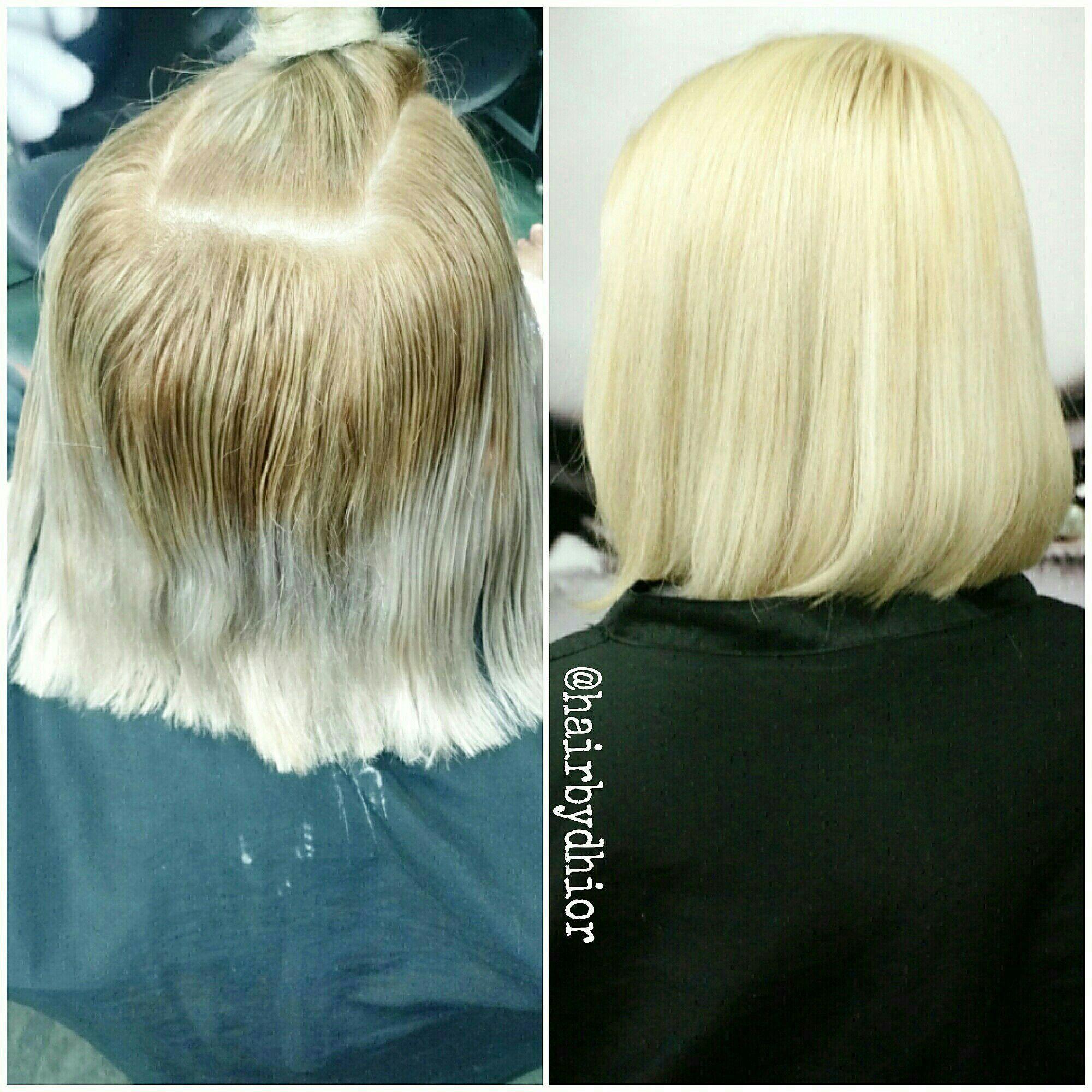 Correção de cor mais reconstrução cabelo cabeleireiro(a)