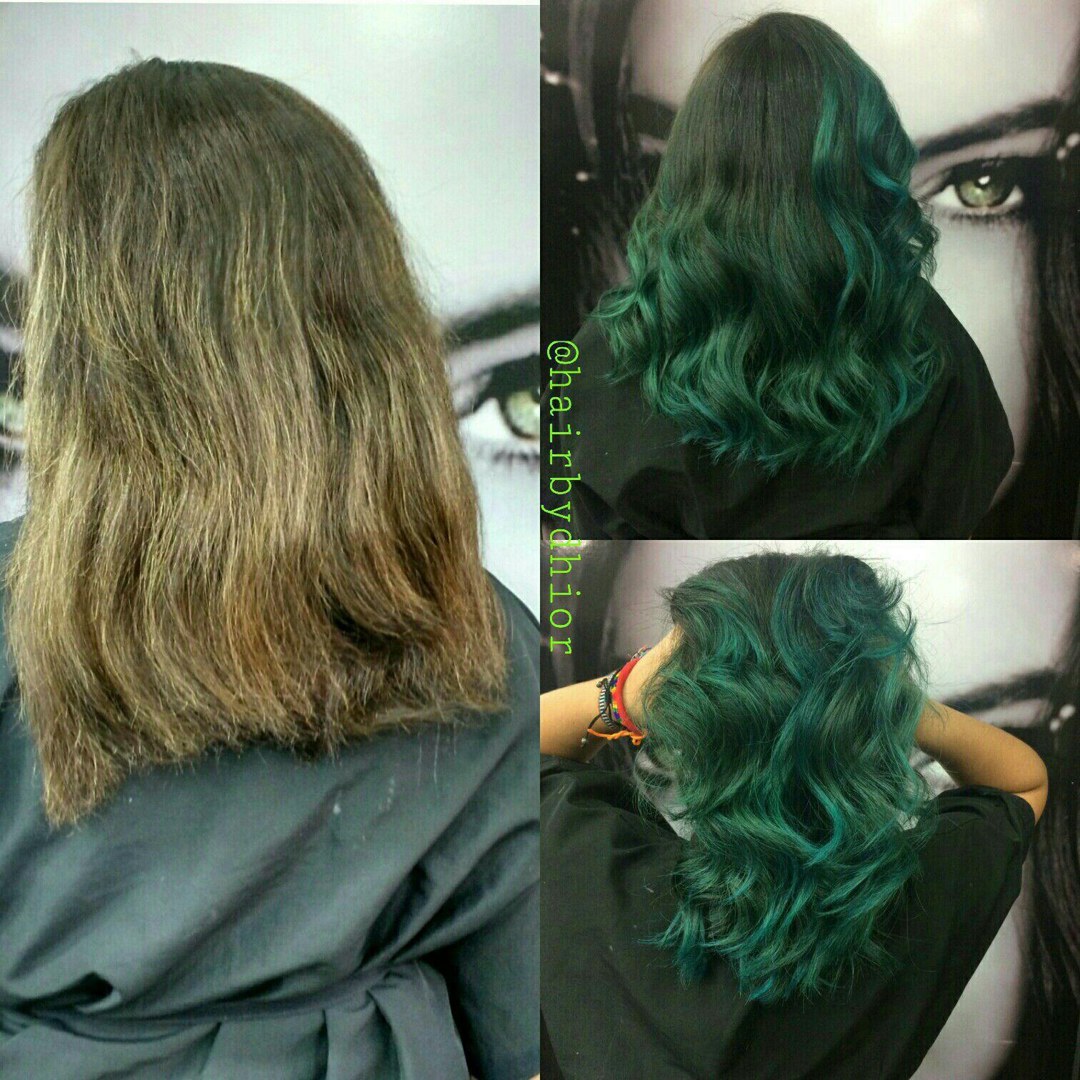 Mechas com matização na Cor Verde e Corte cabelo cabeleireiro(a)
