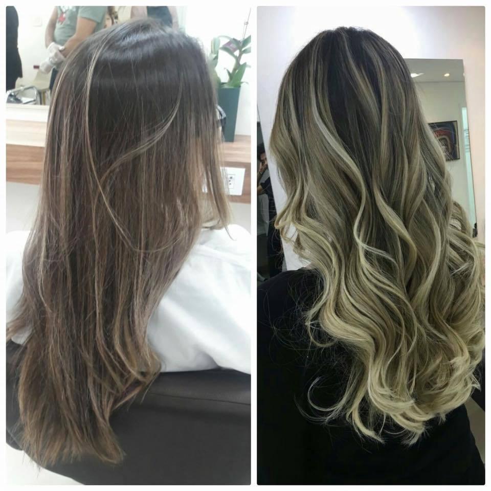 Antes e depois Ombré cabelo auxiliar administrativo