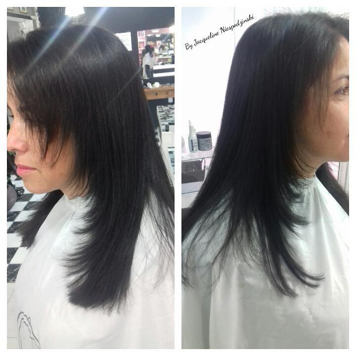 corte degrade com franja + coloração castanho escuro 3.0 base. cabelo cabeleireiro(a) maquiador(a) depilador(a) gerente consultor(a)