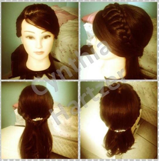 Penteado semi-preso com trança. cabelo cabeleireiro(a)