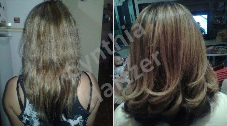 Trabalho de reconstrução do fio e corte, depois de um procedimento de luzes. cabelo cabeleireiro(a)