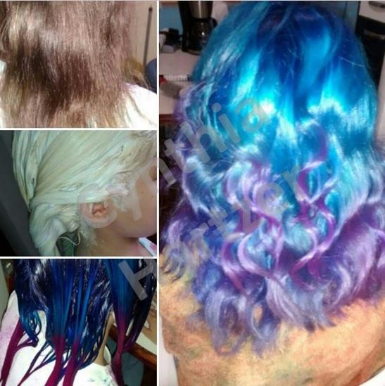 Descoloração global e coloração fantasia em tons de azul e pontas lilás. cabelo cabeleireiro(a)
