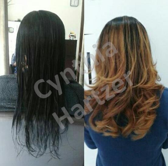 Balayage acobreada. cabelo cabeleireiro(a)