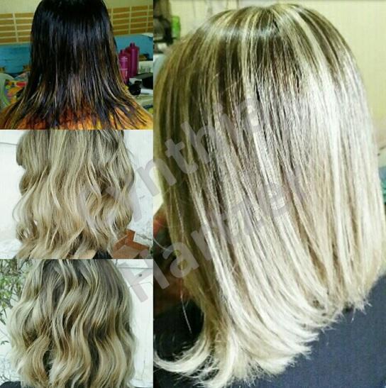 Procedimento de luzes e corte num cabelo fragilizado e com alisamentos. cabelo cabeleireiro(a)