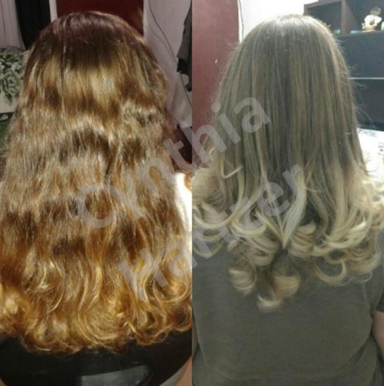 Ombre loiro e corte. cabelo cabeleireiro(a)