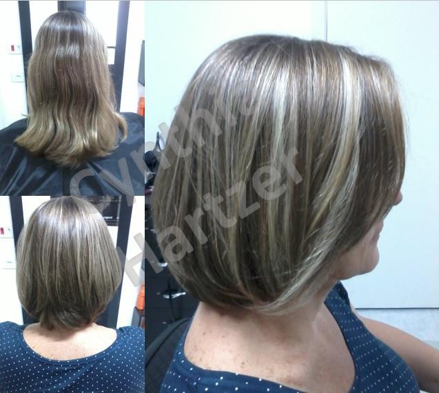 Corte e luzes. cabelo cabeleireiro(a)