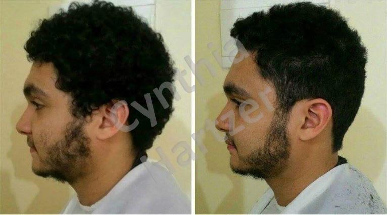 Corte masculino e design de barba, resultando num look mais harmonioso com o rosto. cabelo cabeleireiro(a)