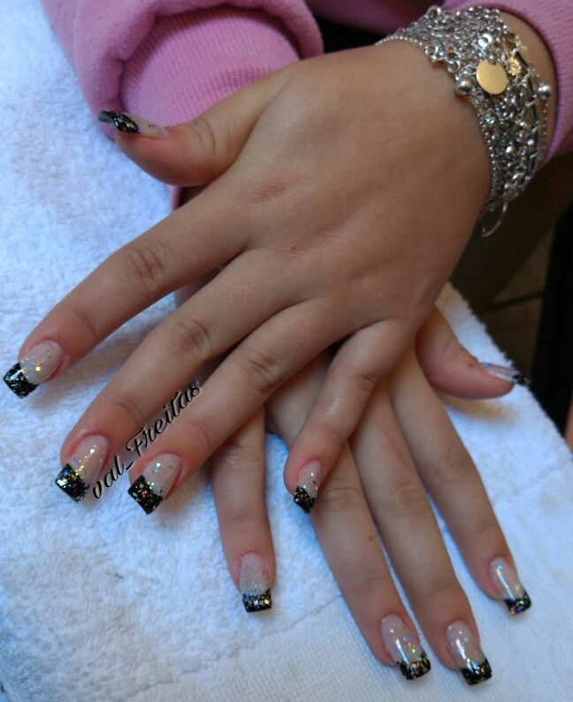 #NailArt #Acrigel #Black #Glitter  unha manicure e pedicure designer de sobrancelhas