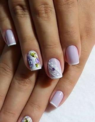 Francecinha com desenhos  de flor garga dupla  unha manicure e pedicure designer de sobrancelhas depilador(a) cabeleireiro(a) maquiador(a)