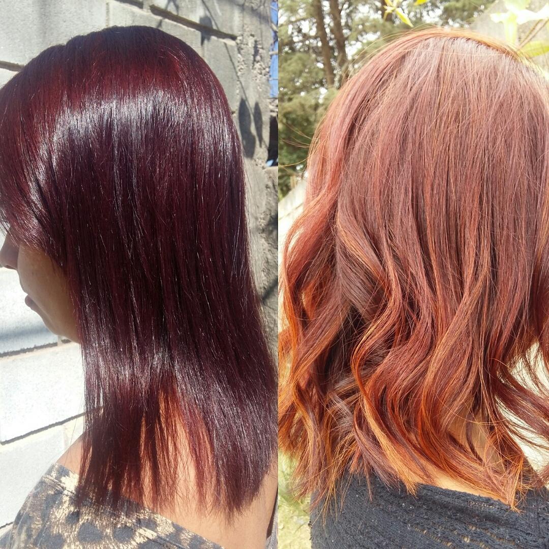 Faça a mudança que seu fio permite, do vermelho intenso ao ruivo com leve dourado. E cabelo saudável  😍 cabelo cabeleireiro(a) cabeleireiro(a)
