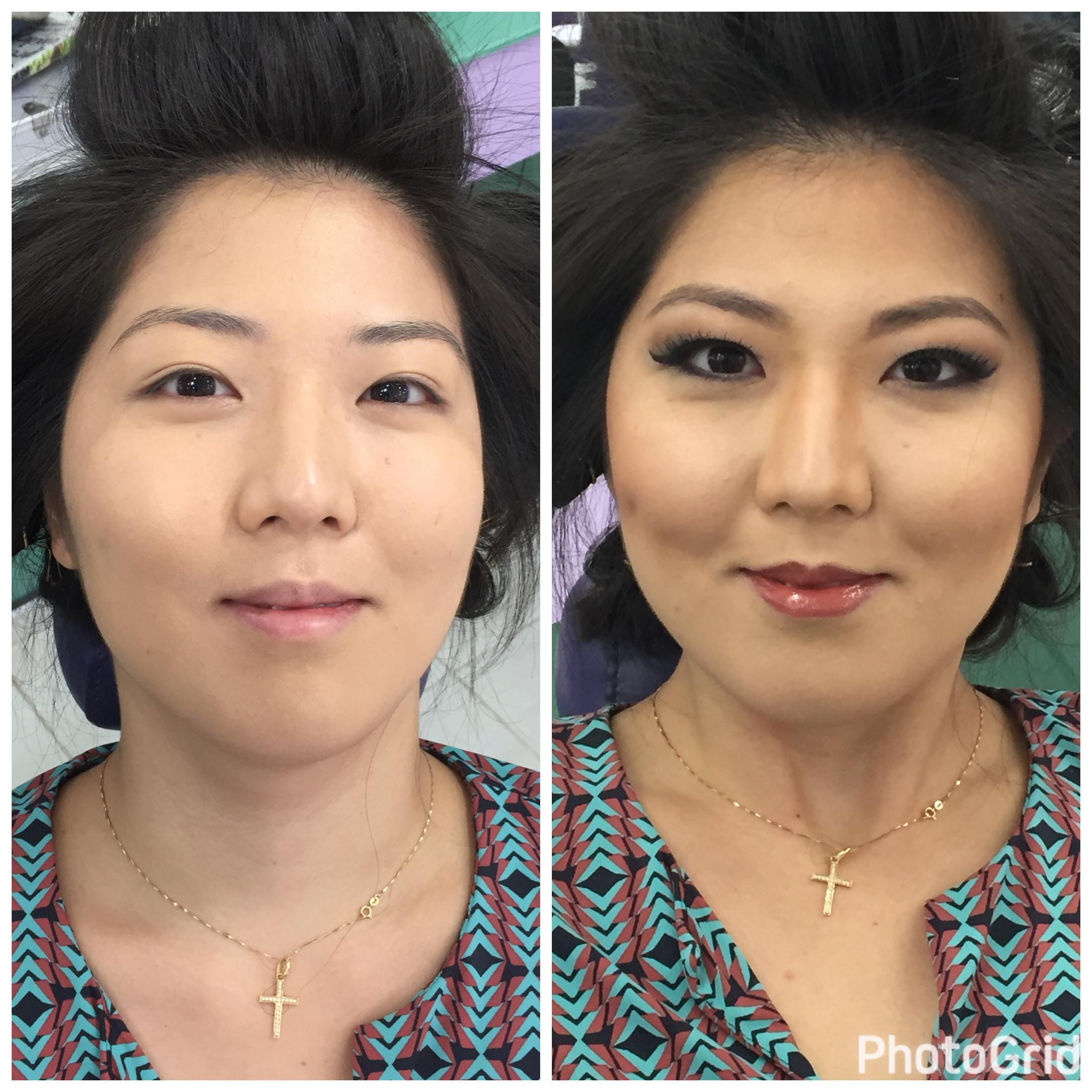 A maquigem oriental deve valorizar os traços naturais! Carol ficou ainda mais linda pra sua formatura! #antesedepois #maquiagem  maquiagem maquiador(a) acupunturista
