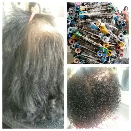 Corte em camadas e permanente. cabelo auxiliar cabeleireiro(a)