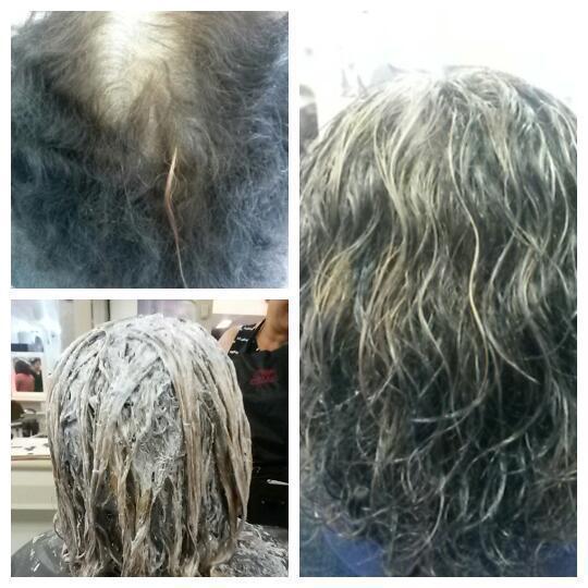 Foi feito cobertura de branco com 5.0, descolorido na altura do 8 e tonalizado com 7.71  cabelo auxiliar cabeleireiro(a)