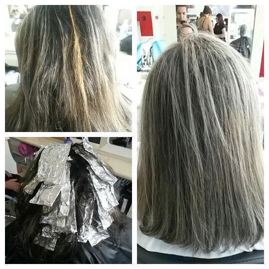 Descoloração com ox de 12%, tonalizado com /86  e finalizado com escova. cabelo auxiliar cabeleireiro(a)