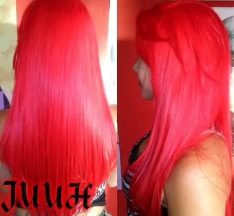 pintura cor vermelha e reconstrução  cabelo auxiliar cabeleireiro(a)